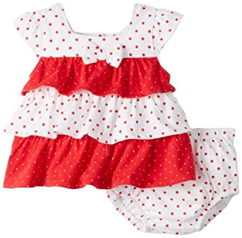 Absorba Baby-Girls Newborn Print Two Piece Short Set, Red/White, 0-3 Months