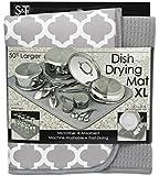 S&T 497500 Microfiber Dish Drying Mat, X-Large, White Trellis