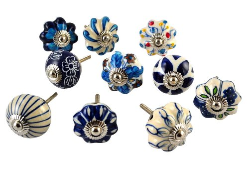 Set of 25 Blue and white hand painted ceramic pumpkin knobs cabinet drawer handles pulls (White Cabinet Knobs And Pulls compare prices)