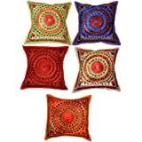 Indian Embroidery Mirror Work Cotton Cushion Pillow Cover 16 By 16 Inches Set 5 Pcs