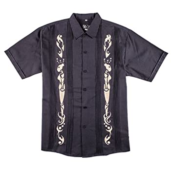 Y.A.Bera Men's Short Sleeve Collared w/ Real Dreams Artwork - Black