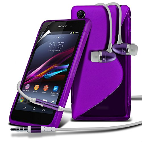 Sony Xperia Z1 Compact Purple S Line Wave Gel Case Skin Cover With Lcd Screen Protector Guard, Polishing Cloth & Hands Free Earphone With Built In Microphone Mic & On-Off Button By Fone-Case