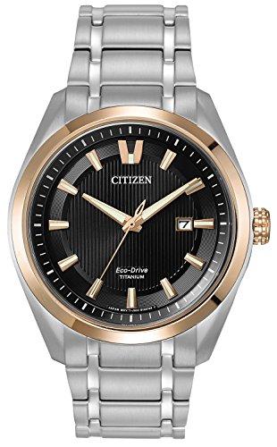 Citizen Watch Mens Titanium Men's Quartz Watch with Black Dial Analogue Display and Silver Titanium Bracelet AW1247-58E