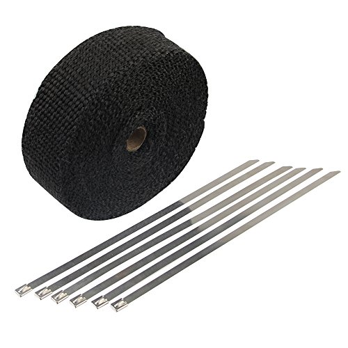 HM&FC Double Thickness Black Exhaust Wrap with Size 0.12 Inch (T) 32 Feet (L) 2 Inch (W) (Motorcycle Exhaust Parts compare prices)