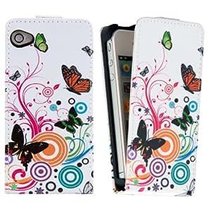 kwmobile® Étui en cuir synthétique chic pour Apple iPhone 4 / 4S avec fermeture aimantée pratique en . Motif fleurs Plusieurs looks disponibles