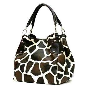 XL Brown Giraffe Designer Inspired Animal Print Handbag Purse Bag Tote
