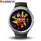 LEMFO LEMS1 Smart Watch, Multifunction Smart Watch Bluetooth 4.0 MTK6580 1.3GHz Quad-core 1GB / 16GB with Wifi / Sim / GPS Heart Rate Monitor Cell Phone Smartwatch for Anrioid iOS,Black
