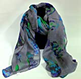 Grey feather leaf scarf maxi scarves ladies accessory gift present head scarves scarf