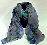 Grey feather leaf scarf maxi scarves ladies accessory gift present head scarves scarf