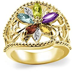 18k Gold Overlay Sterling Silver Multi-Gemstone Floral Ring