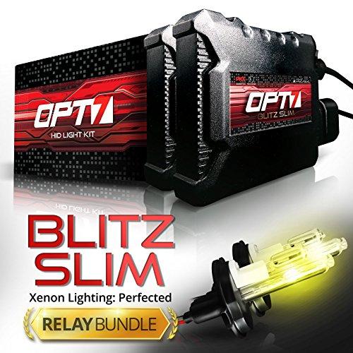 Blitz 35w Slim HID Kit - All Bulb Sizes and Colors - Relay Capacitor Bundle - 2 Yr Warranty [H4 (9003) Hi-Lo - 3000K Fog Yellow] (Oem 2010 Honda Crv Antifog Lights compare prices)