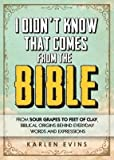img - for [(I Didn't Know That Comes from the Bible: From Sour Grapes to Feet of Clay, Biblical Origins Behind Everyday Wor)] [Author: Karlen Evins] published on (September, 2013) book / textbook / text book