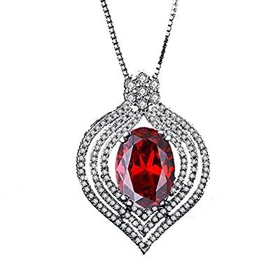 Superhai Simple Refined Luxury Noble Red Teardrop Shaped Zircon Pendant