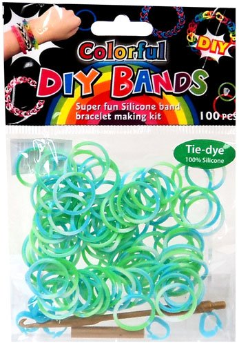 D.I.Y. Do it Yourself Bracelet Bands 100 Green, Blue & White Tie Dye Rubber Bands with Hook Tool & Buckles