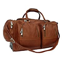 Piel Leather Duffel with Pockets On Wheels by Piel Leather
