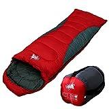 丸洗いOK White Seek 寝袋 シュラフ 封筒型 耐寒温度 -5℃ コンパクト収納 オールシーズン (レッド)