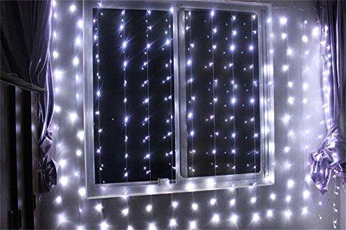 Lemonbest® New 300 Led Window Curtain Icicle Lights String Fairy Light Wedding Xmas Party Garden Hotel Decoration 3Mx3M (Pure White)
