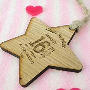 Sweet 16 gift, personalised 16th birthday star, 16th birthday keepsake, 16th birthday wooden star, Girls 16th birthday gift
