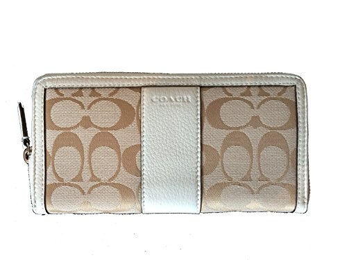 Coach Park Signature Accordion Zip Around Wallet in Light Khaki & Parchment – Style 51770