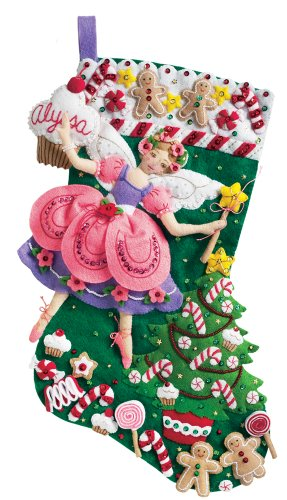 Bucilla Sugar Plum Fairy Stocking Felt Appliqué Kit, 18-Inches Long