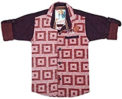CAY 100% Cotton Maroon Color Designer Shirt (Size:S)