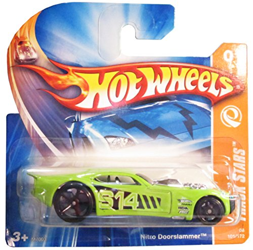 Hot Wheels Track Stars Series Nitro Doorslammer, Green, Chrome Interior Sittin' on Black FTE's Collector #1, 1/64 2008