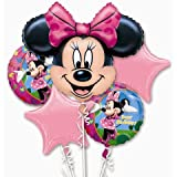 MINNIE MOUSE Pink HAPPY BIRTHDAY 5 Balloon Bouquet Kit w/Ribbons