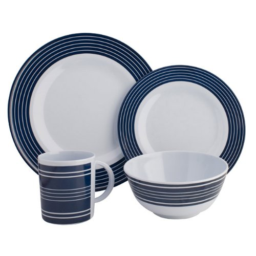 Details for Melamine Dinner Set Navy Pinstripe - 16 Piece from Grove