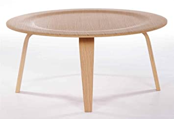 Round Coffee Table in White-Oak Finish