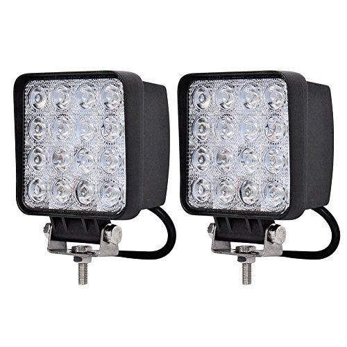 "Zxmoto Square Spot Led Work Lights 48W 6000K 4.5"" Lamp Lighting For Road 4X4 Tractor Atv - 2Pcs"