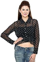 Rvestir Women's Poly Georgette Tunic Top (OM100_XL, Black)
