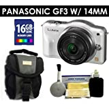 Panasonic Lumix DMC-GF3 Digital Camera with 14mm Lens (White) Value Kit