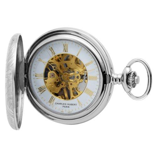 Charles-Hubert, Paris Sterling Silver Two-Tone Mechanical Pocket Watch