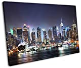 New York City Skyline at Night Framed Canvas Art Print 30 x 20 inch