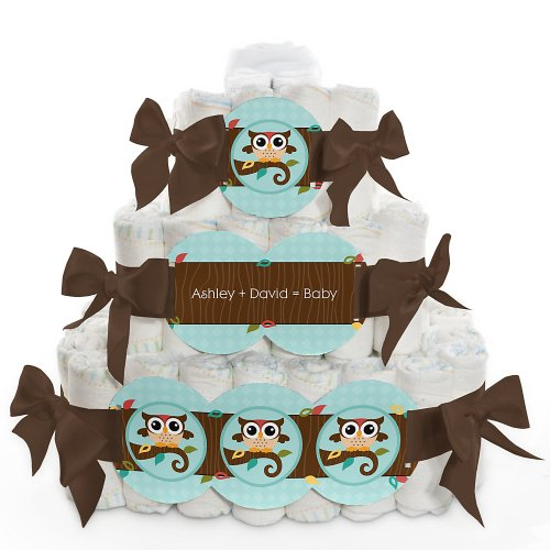 Owl - Look Whooo'S Having A Baby - 3 Tier Personalized Square - Baby Shower Diaper Cake front-710762