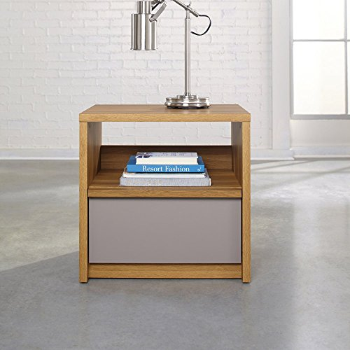 Sauder Soft Modern 1 Drawer Nightstand - Pale Oak, Brown, Wood front-1068357