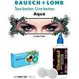 Natural Look Quarterly Aqua Color Zeropower Colorered Contact Lens With Free Cleanzol Lens Care Kit (2 Lens Pack...