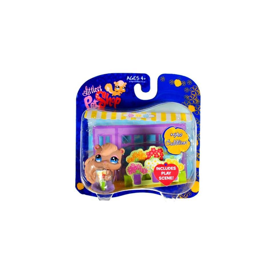 Hasbro Year 2007 Littlest Pet Shop Exclusive Single Pack Cuddliest Series Bobble Head Pet Figure Set #540   Brown Squirrel with Play Scene (23163)