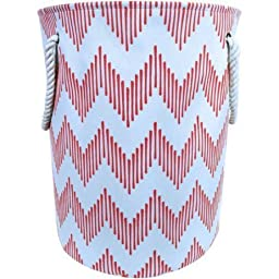 Canvas Laundry Hamper with Rope Handles, Coral Chevron