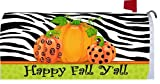 Happy Fall YAll Pumpkins with Zebra Stripe Harvest Holiday Mailbox Wrap Cover