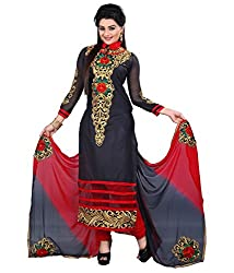 Hari Packaging Black Cotton Unstitched Dress Material