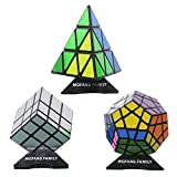 MOFANG FAMILY Set of 3 Speed Cube Pyraminx Megaminx Silver Mirror Magic Speed Cube Puzzle Brainteaser Cube