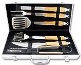 Barbecue Grillbesteck Set 6-teilig Edelstahl, Griffe aus Bambusholz, im Koffer