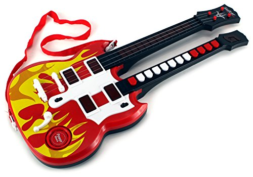 Double Neck Flaming Rock 'n Roll Battery Operated Children's Kid's Toy Guitar w/ Lights, Sounds