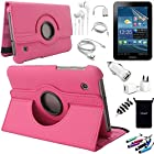 AceNear Accessory Bundle For ASUS Transformer Pad TF300 10.1-Inch Tablet - New 360 Degress Rotating Stand Leather Folio Case Cover , Headset Dust Plug Capacitive Stylus, Screen Protector, USB Cable, Charger, Earphone, bag, Car Charger Adapter - pink