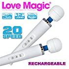 Love Magic Wand Multipurpose Therapeutic Massager USB - Hitachi Style 20 Speed Patterns, Quiet Vibrations-steady & Pulsating, Silicone Massage Head, Flexible Neck, Maximum Pleasure -13 Length PLUS Two Bottles of 2 oz Aqua Z Lube!