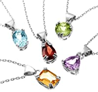 "Sterling Silver Peridot, Garnet, Amethyst, Blue Topaz and Citrine Pendant Necklace Set, 18"" from Amazon Curated Collection"