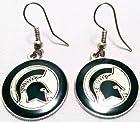 NCAA Team Logo Globe Style Dangle Hypoallergenic Earrings (Michigan State Spartans)