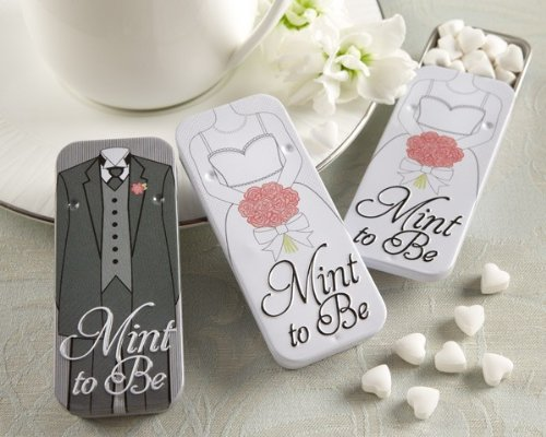 Mint to Be Bride and Groom Slide Mint Tins with Heart Mints – Total 24 sets