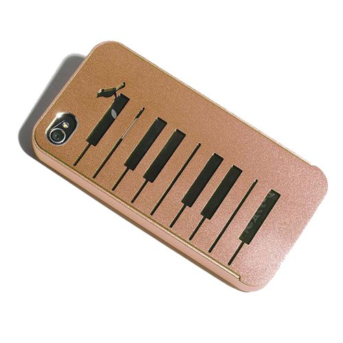 Lovely Brown Aluminium Alloy Piano & Bird Protective Back Cover Case for iPhone 4 4S 4G